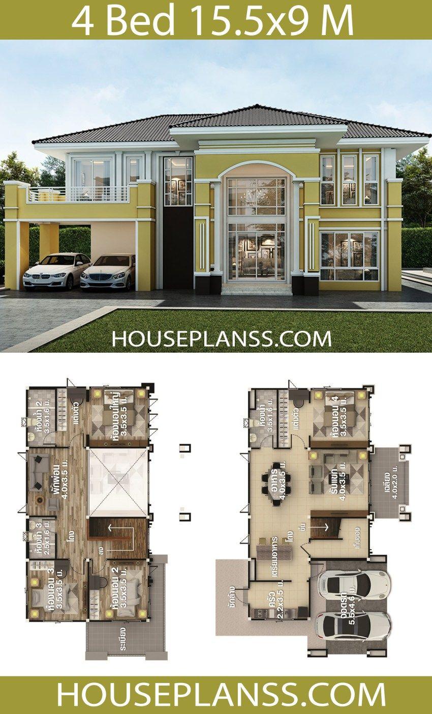 House Plans Idea 15 5x9 With 4 Bedrooms House Plans 3d Brick House Designs House Construction Plan Model House Plan