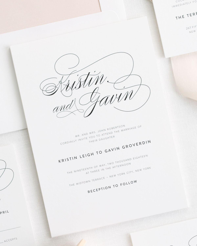 Script Elegance Ribbon Wedding Invitations In 2019