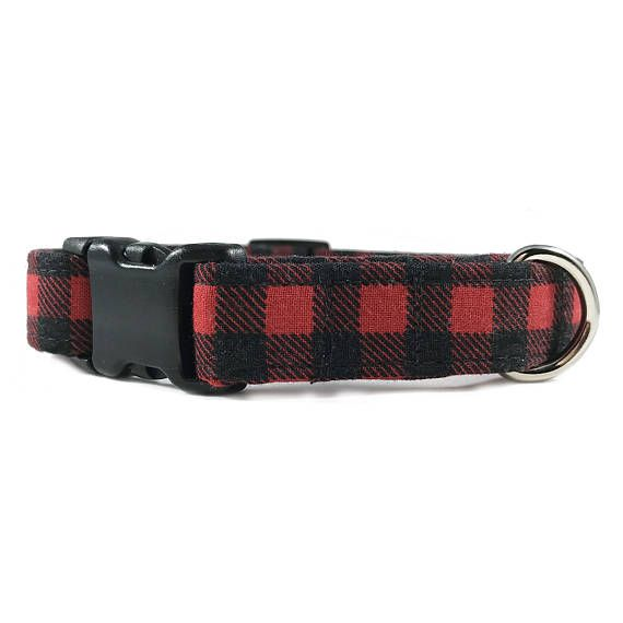 Red And Black Buffalo Plaid Dog Collar Buffalo Checkered Puppy