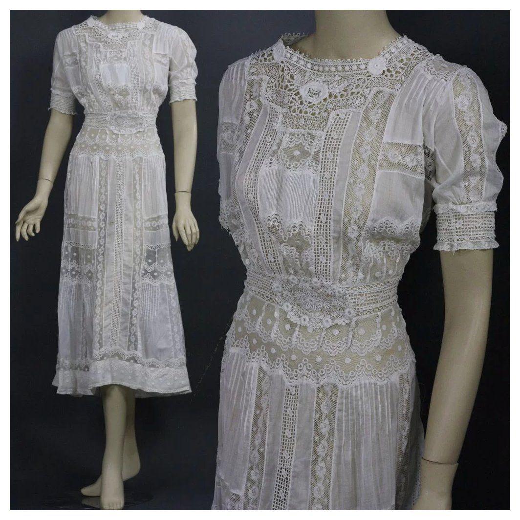 Antique victorian edwardian tea dress gown fancy lace bridal wedding