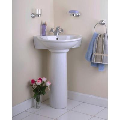 Pegasus Evolution Corner Pedestal Combo Bathroom Sink In White 3