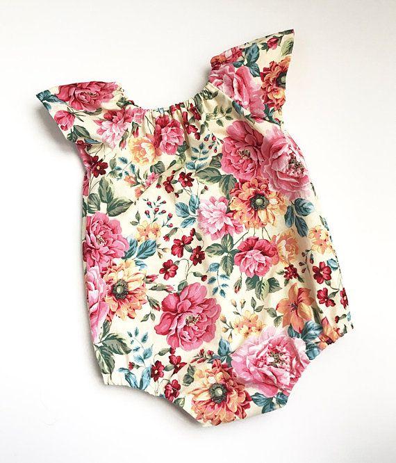ddd1bc4f1423 Floral Romper - Floral Bodysuit - Baby Girl Romper - Baby Girl ...