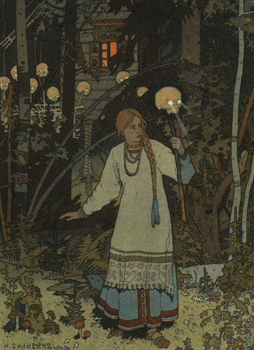 magictransistor:  Ivan Yakovlevich Bilibin (Иван Яковлевич Билибин), Vasilisa the Beautiful at the Hut of Baba Yaga (Василиса Прекрасная в Избушка Бабы Яги), 1902.