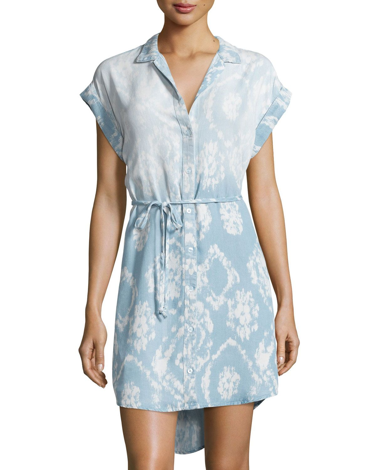 Chelsea & Theodore Printed Button-Front Shirtdress, Light Blue, Women's, Size: S