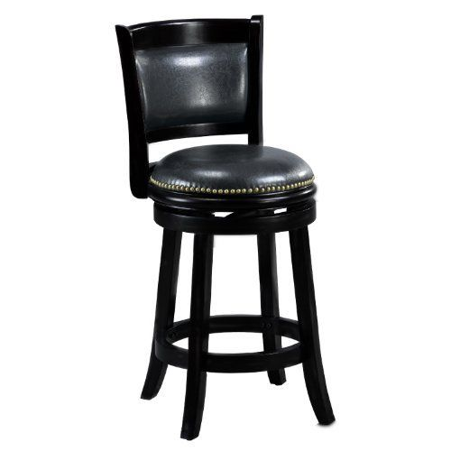 Mintra Black Finish Padded Back 24 Inch Counter Stool By Mintra