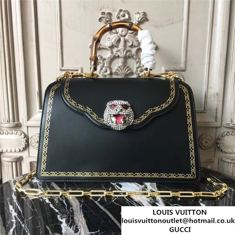 d632dd18d03 Gucci Frame Print Bamboo Top Handle 30cm Bag Calfskin Leather 495881 Fall  Winter 2017 Collection Black