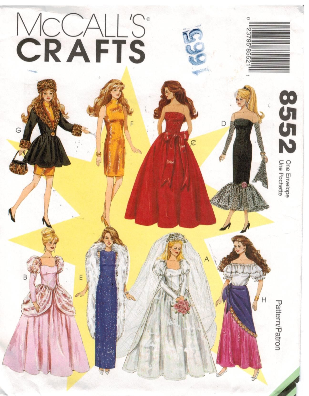 McCalls Pattern 8552 Barbie Doll Clothes Wedding Gown, evening ...