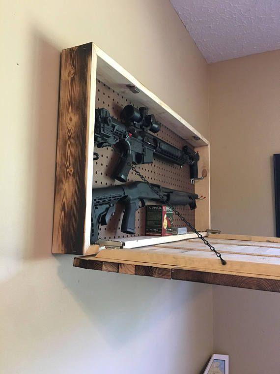 Burnt American wooden flag hidden gun cabinet secret ...