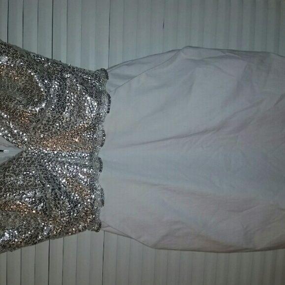 White strapless dress Strapless dress with silver sequin top City Studio Dresses Mini