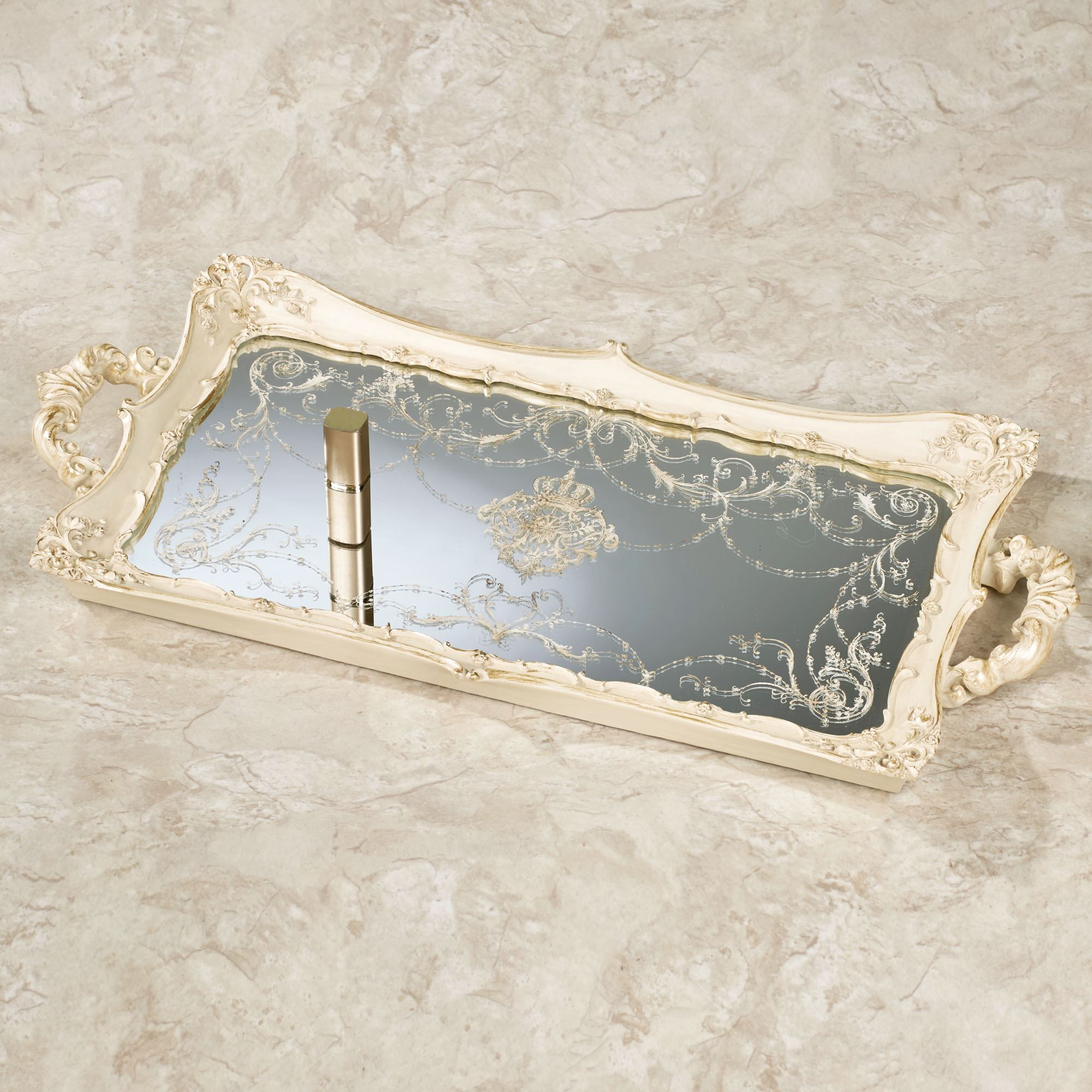 design ideas mirrored home vanity tray set