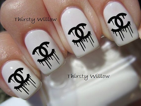 Dripping Chanel Logo Nail Decals On Etsy 1 68 Chanel Nails Nails Cc Nails