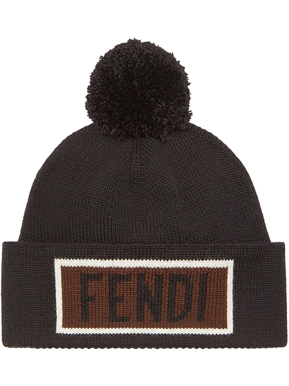 fendi  hat  logo  wool  pom-pom  black  men  style  fashion  winter ... 611c810d2f3