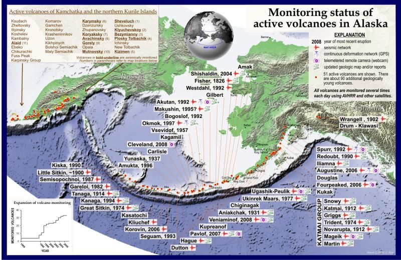 Map Of Active Volcanoes | Two decades of increased monitoring of