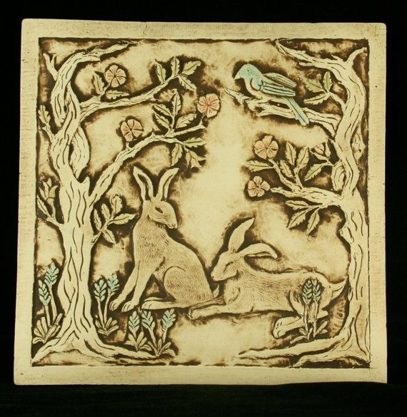 8 inch porcelain tile featuring rabbits in a rose garden and a blue ...