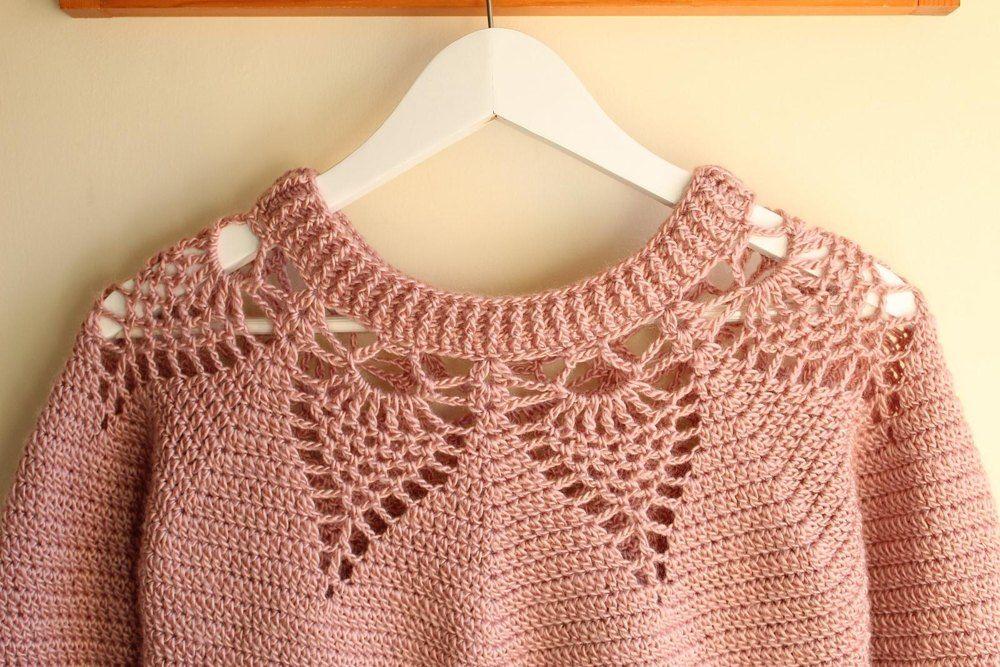 Adelaide Lace Sweater Crochet pattern by Veronika Cromwell