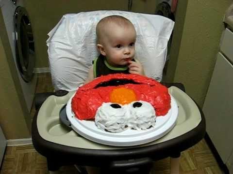 Max eating Elmo birthday cake 1st birthday bithhdays