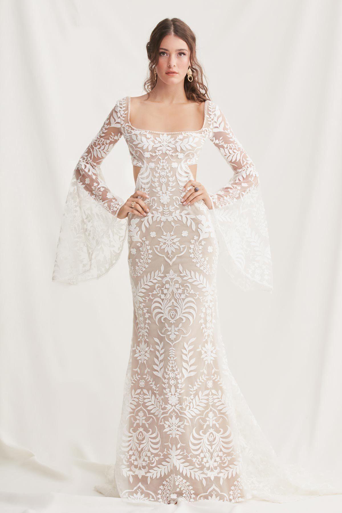 watters long sleeve wedding dress