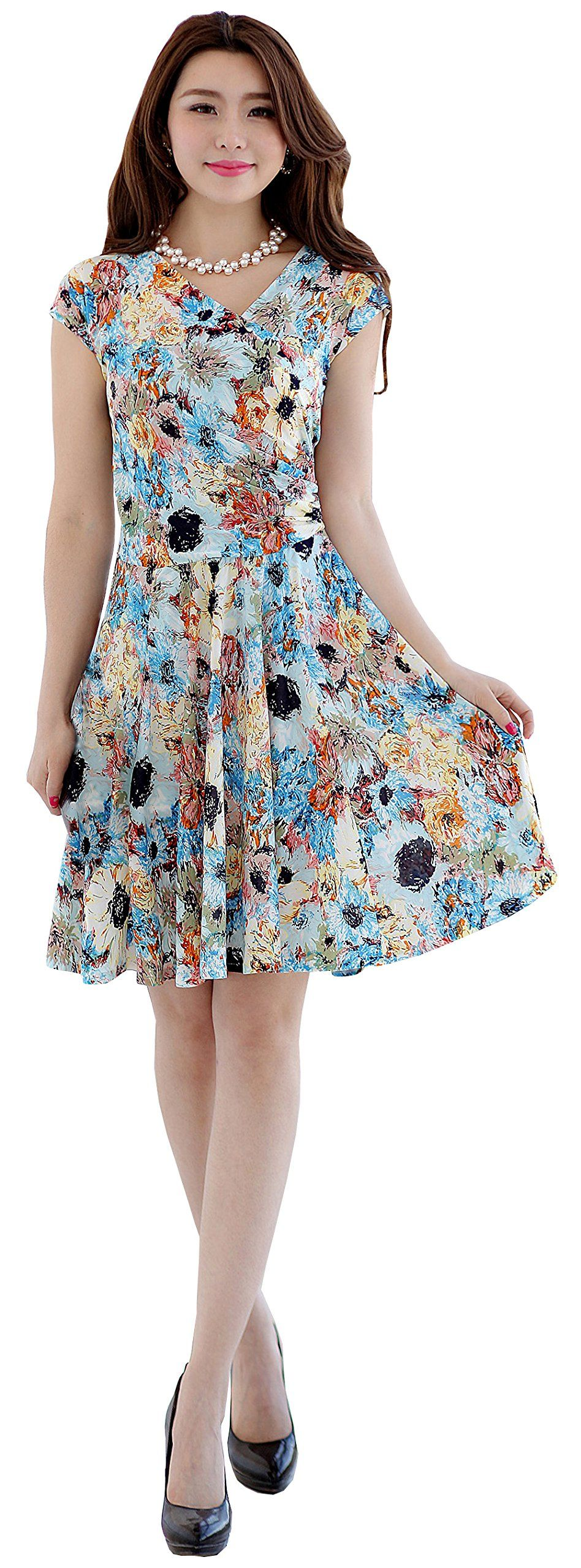 Women V28 Crossover V-neck short sleeve Polka dot pleated floral summer Dress