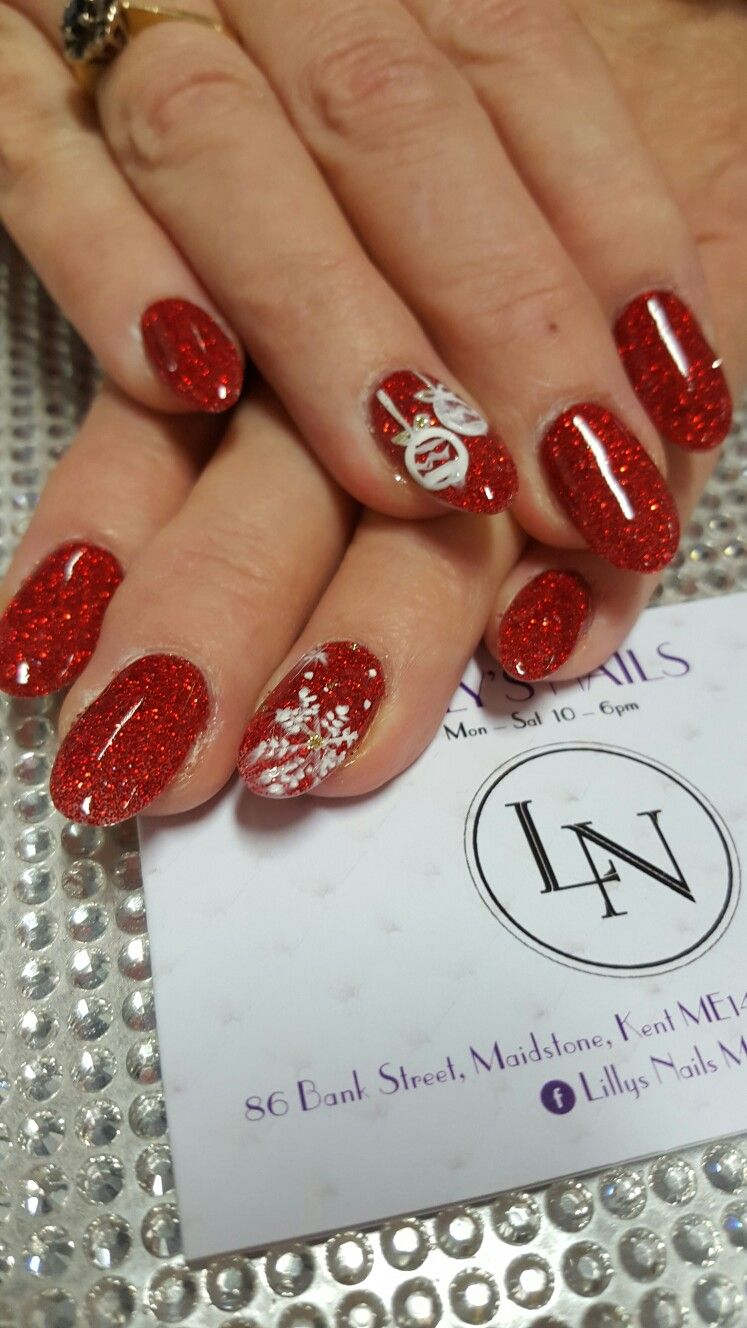 SNS. Red glitter. Christmas nails