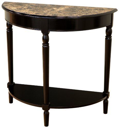 Frenchi Home Furnishing Entryway Table With Faux Marble Top Black