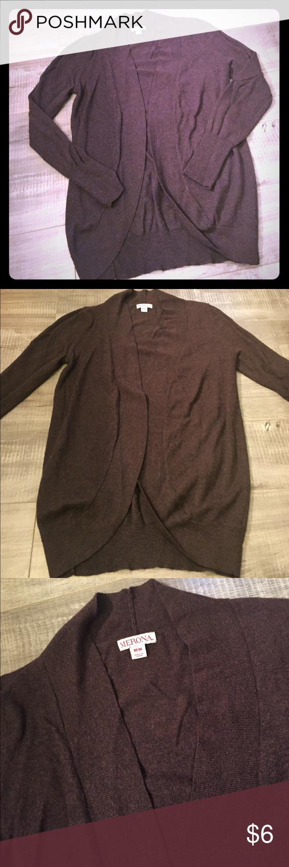 Chocolate Brown Open Cardigan Sweater | Chocolate brown, Open ...
