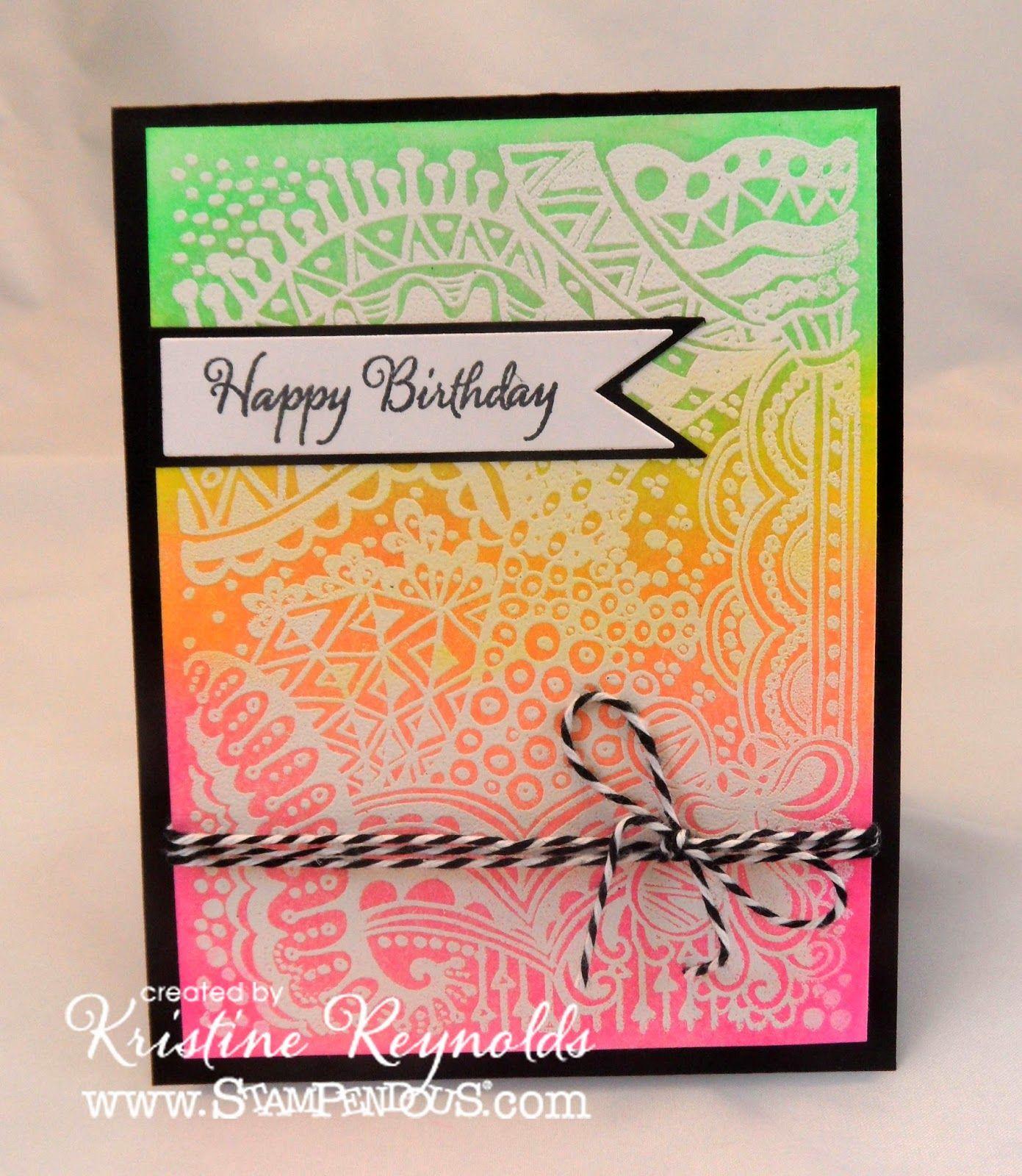 Penpatterns stampendous imagine crafts neon card ideas