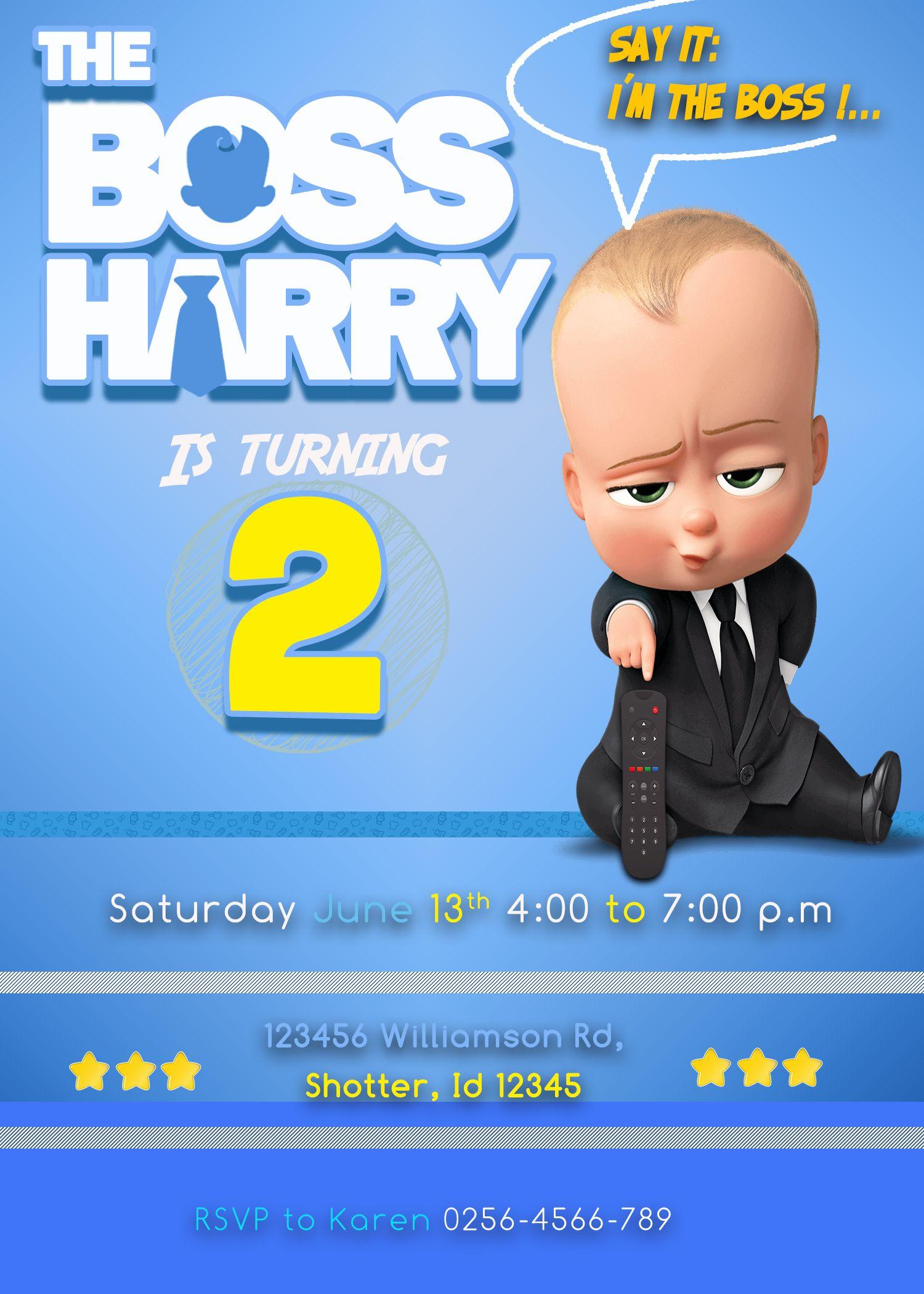 The Boss Baby Birthday Invitation Oscarsitosroom Baby Birthday Invitations Boss Baby Baby Birthday