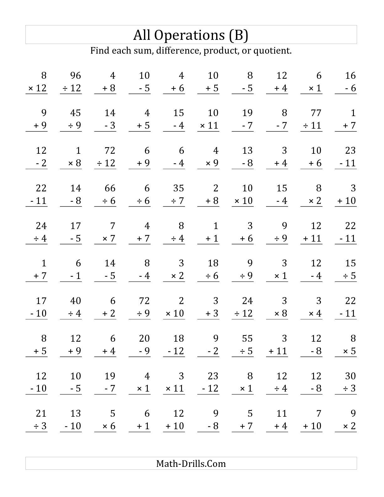 The All Operations With Facts From 1 To 12 B Math