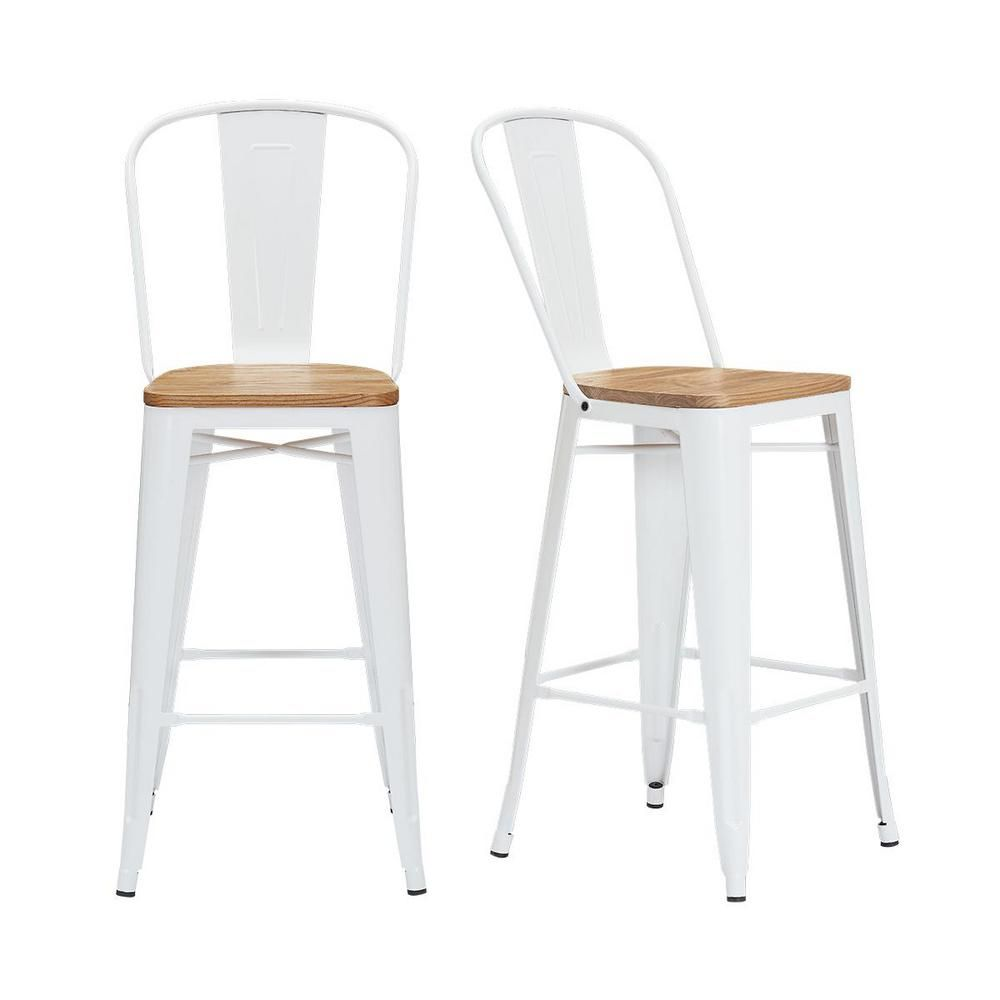 Stylewell Finwick White Metal Bar Stool With Back And Wood Seat