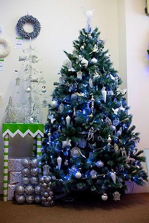 Decoraciones de rboles de navidad azul navidad for Arboles navidenos decorados