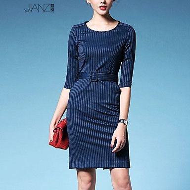Women's Striped Blue/Black Dress , Sexy/Work Round Neck ½ Length Sleeve Split JZ9A07 – USD $ 33.99