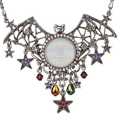 Kirks Folly Bats Over The Seaview Moon Necklace Silvertone | eBay