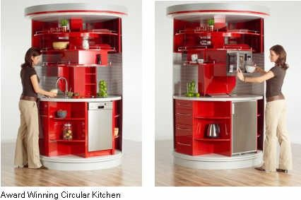 So if you live in small spaces, why give up so much to the kitchen? And why move to another part of the kitchen when you can move the kitchen to you? New Zealand designer Alfred Averbeck spun out this idea for a kitchen that has the equivalent of 12
