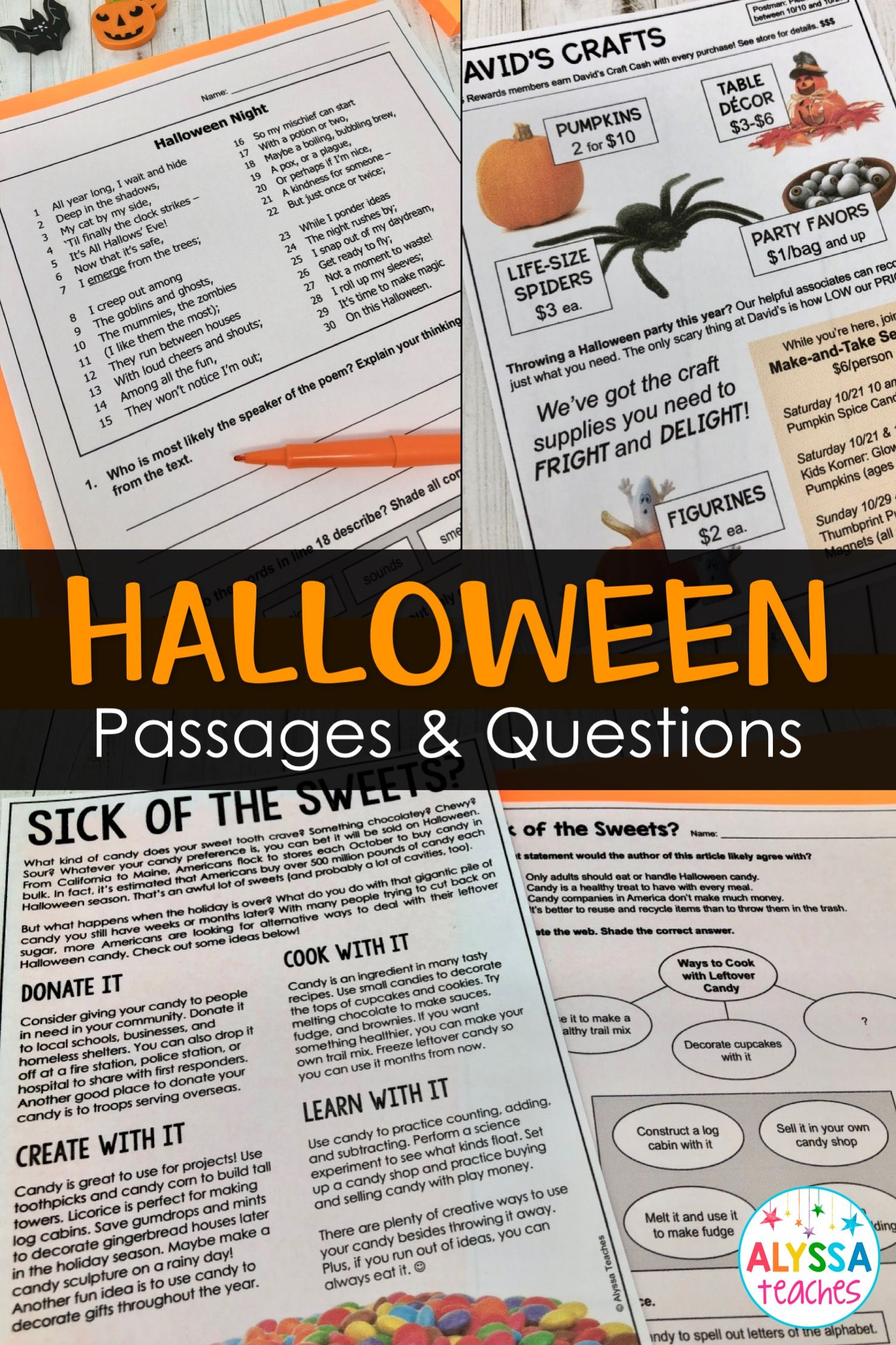 These Halloween Reading Comprehension Passages With