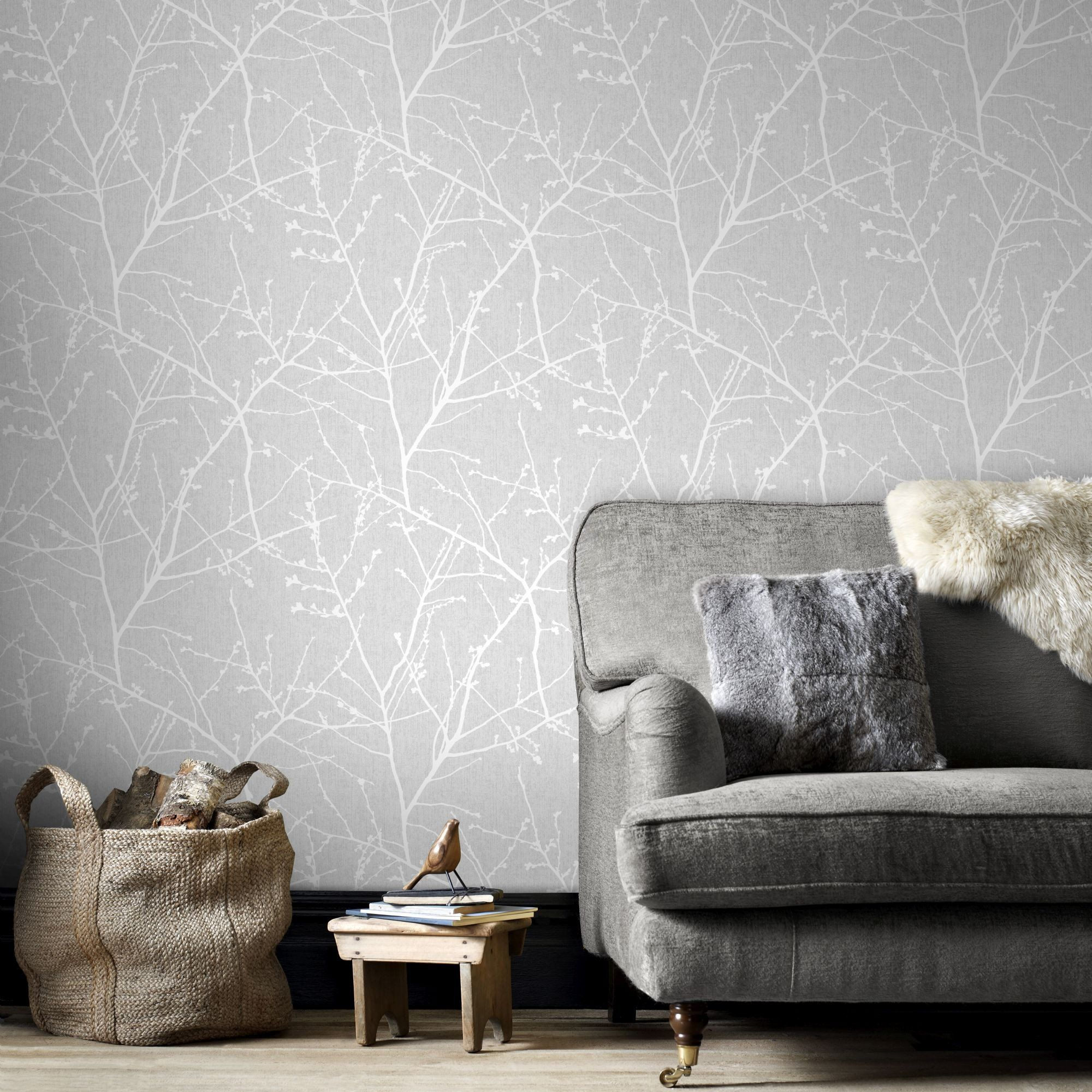 Innocence Wallpaper in Grey from the Innocence Collection by Graham ...
