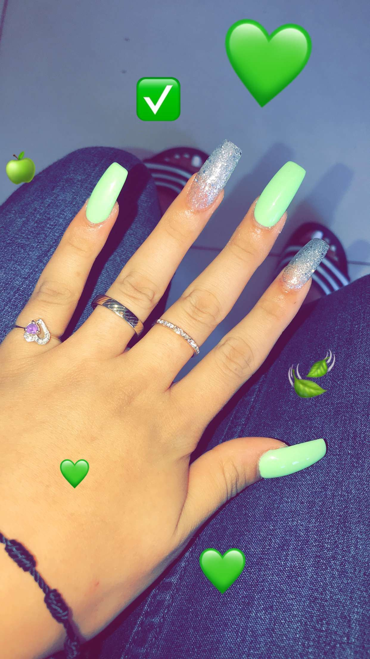 Long Green Nails Green Acrylic Nails Green Nail Designs Green Nails