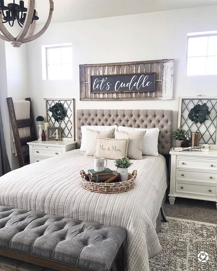 "Stylish Farmhouse on Instagram: ""Beautiful and cozy bedroom by @down_mulberry_lane! Love the colour scheme of this one!! Check out her original post to find out how to shop…"""