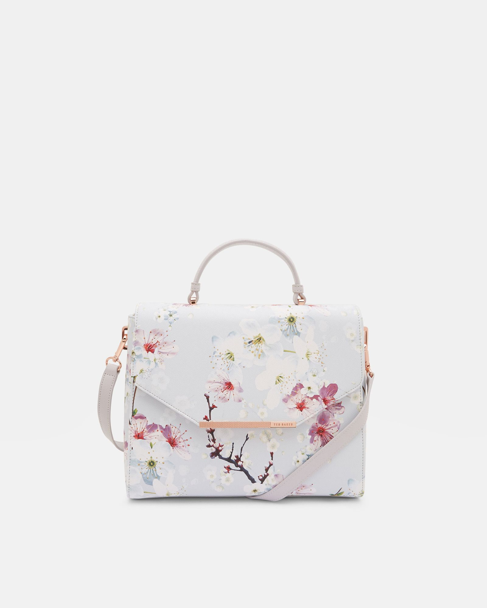 Oriental Blossom small tote bag - Light Grey