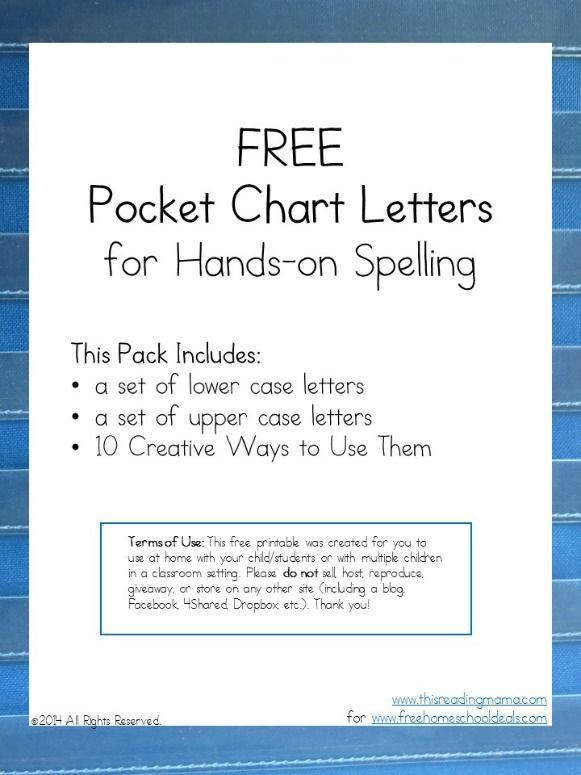 FREE Pocket Chart Letters for Hands-On Spelling Download   Chart ...