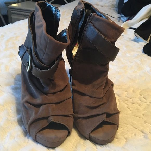 Brown booties Brown booties with zipper on the side Shoes Heels