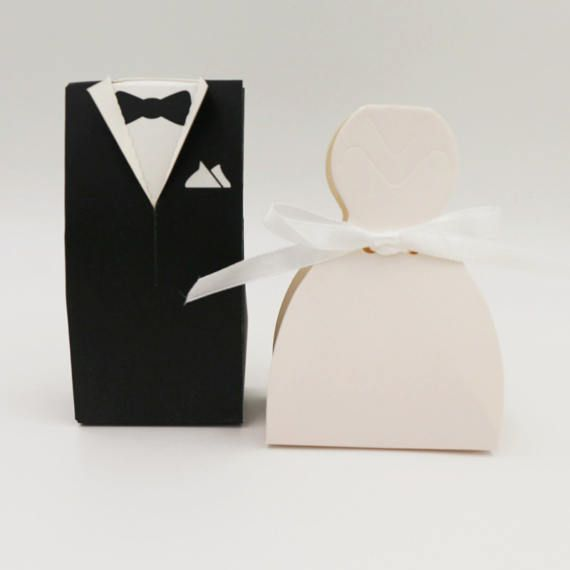 100 Bride And Groom Wedding Favor Boxespure White Elegant