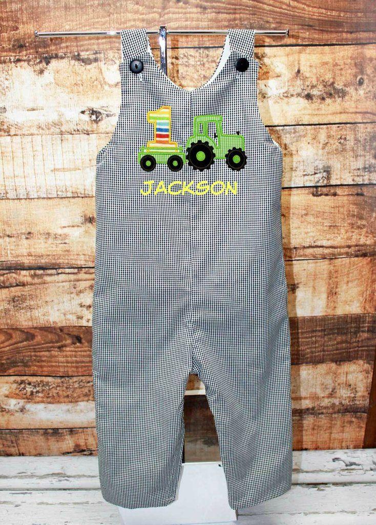 Boys Birthday Tractor Jon,Boys Birthday Jon,First Birthday Jon,Applique Embroidered Jon