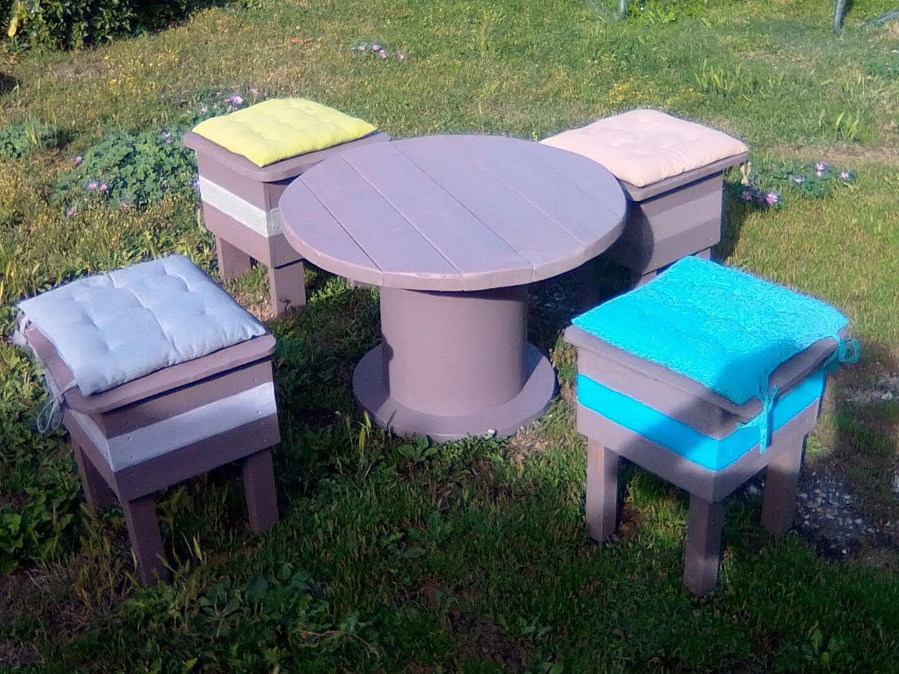 Salon de jardin composé de quatre tabourets réalisé en bois recyclé ...