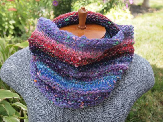 Striped Purple Red, Pink and Blue Cowl in Noro Yarn by Indigo Kitty Knits.  Perfect for city strolling, dog walking and snowball fights.
