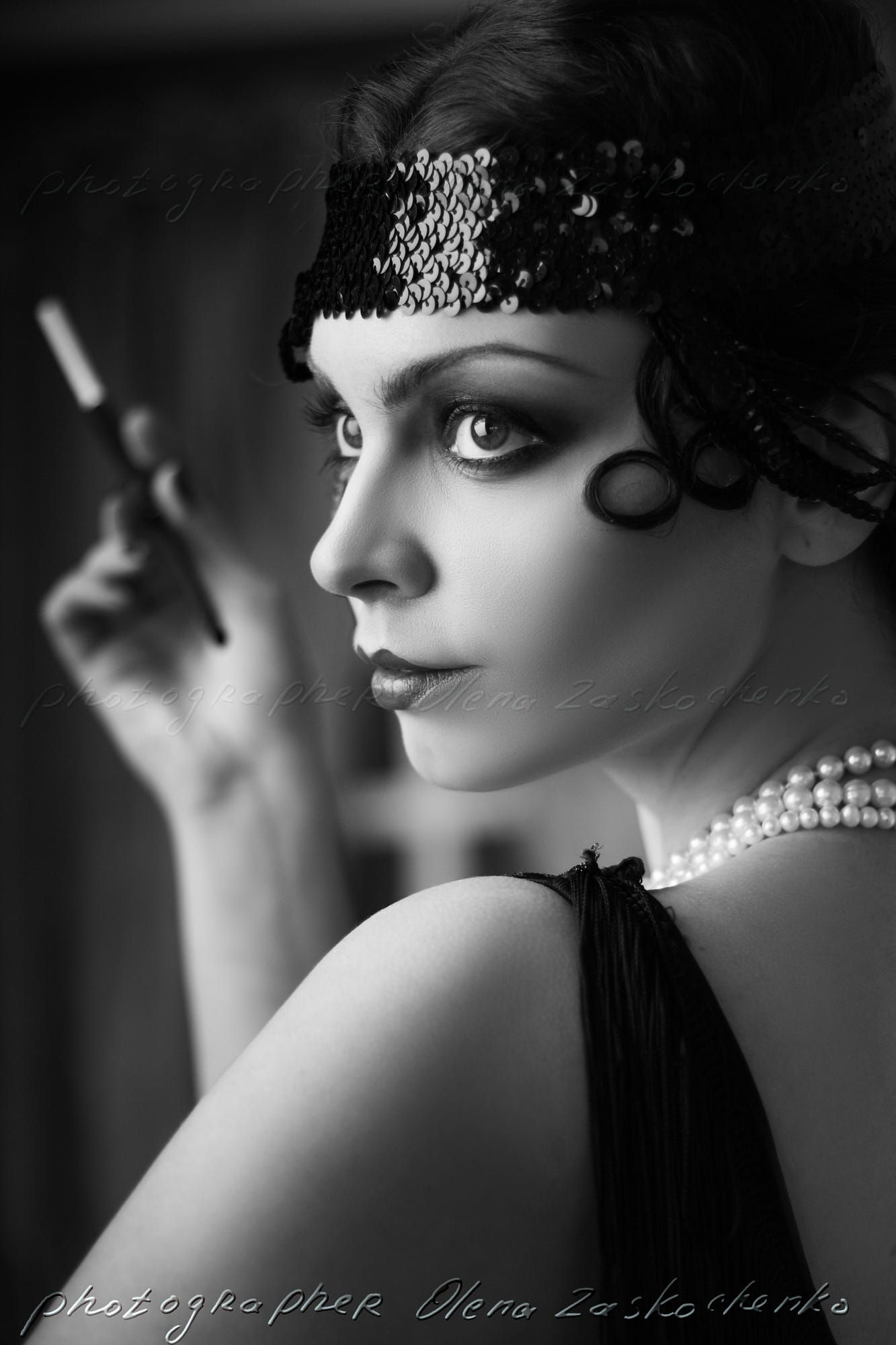Beautiful Young Woman Close Up Portrait In Retro Flapper