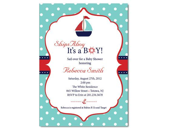 Sailboat baby shower invitation nautical shower pinterest sailboat baby shower invitation filmwisefo Choice Image
