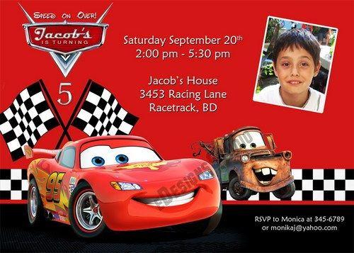 Get FREE Template Disney Cars Personalized Birthday Invitations