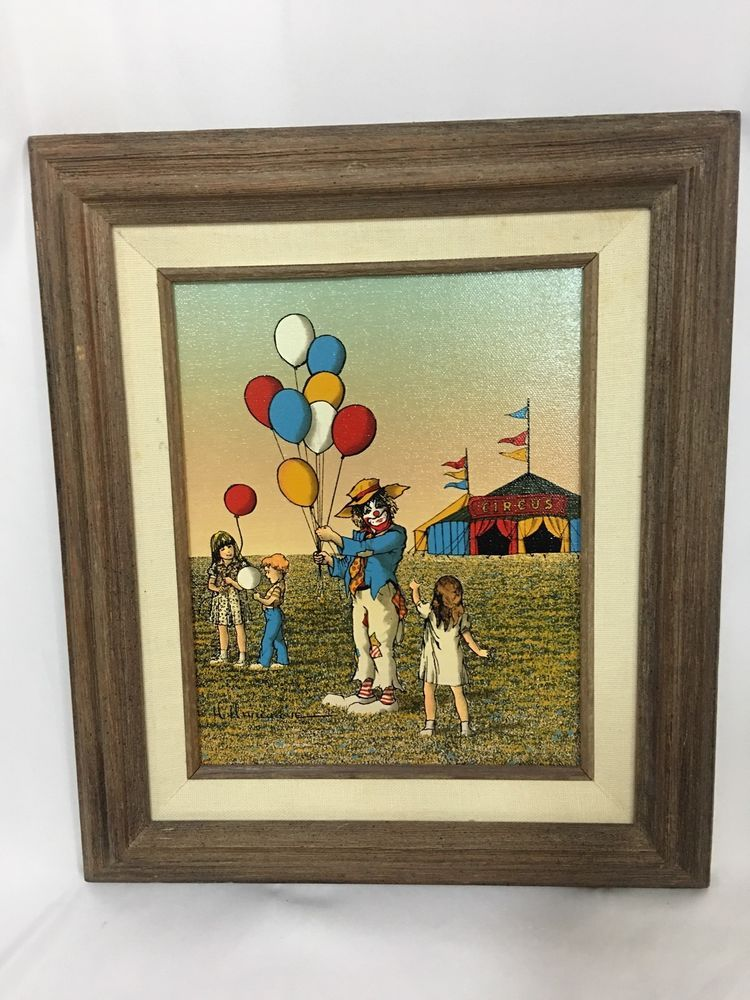 Signed H.Hargrove Oil Painting Clown at Circus Balloons 13x15 Drift Wood Framed  | eBay