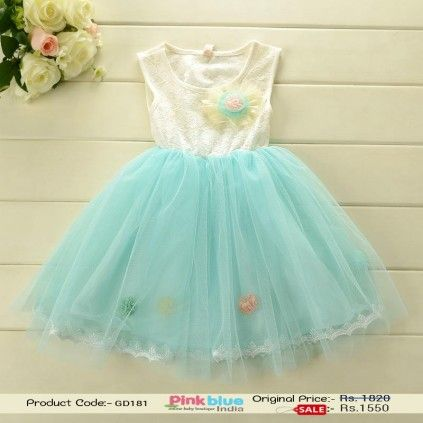 Pretty Cyan and off-White Casual Baby Girl Dress with Big Flower ...