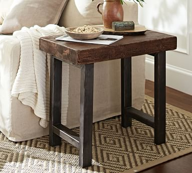 Griffin 27 Reclaimed Wood End Table In 2021 Reclaimed Wood Side Table Reclaimed Wood Coffee Table Side Table Wood Wood and wrought iron end tables